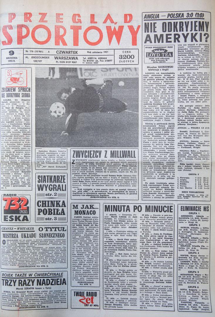 Okładka przegladu sportowego po meczu Anglia - Polska (08.09.1993)