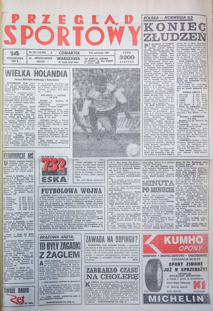 Okładka przegladu sportowego po meczu polska - norwegia (13.10.1993)