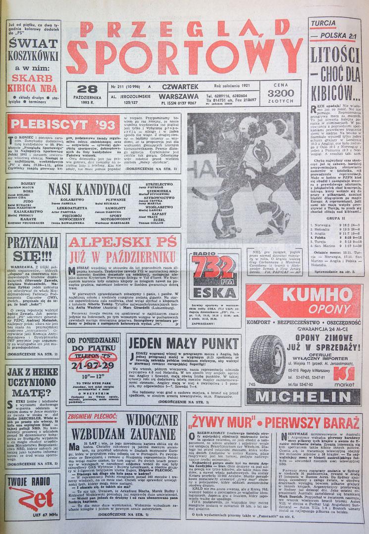 Okładka przegladu sportowego po meczu Turcja - Polska (27.10.1993)
