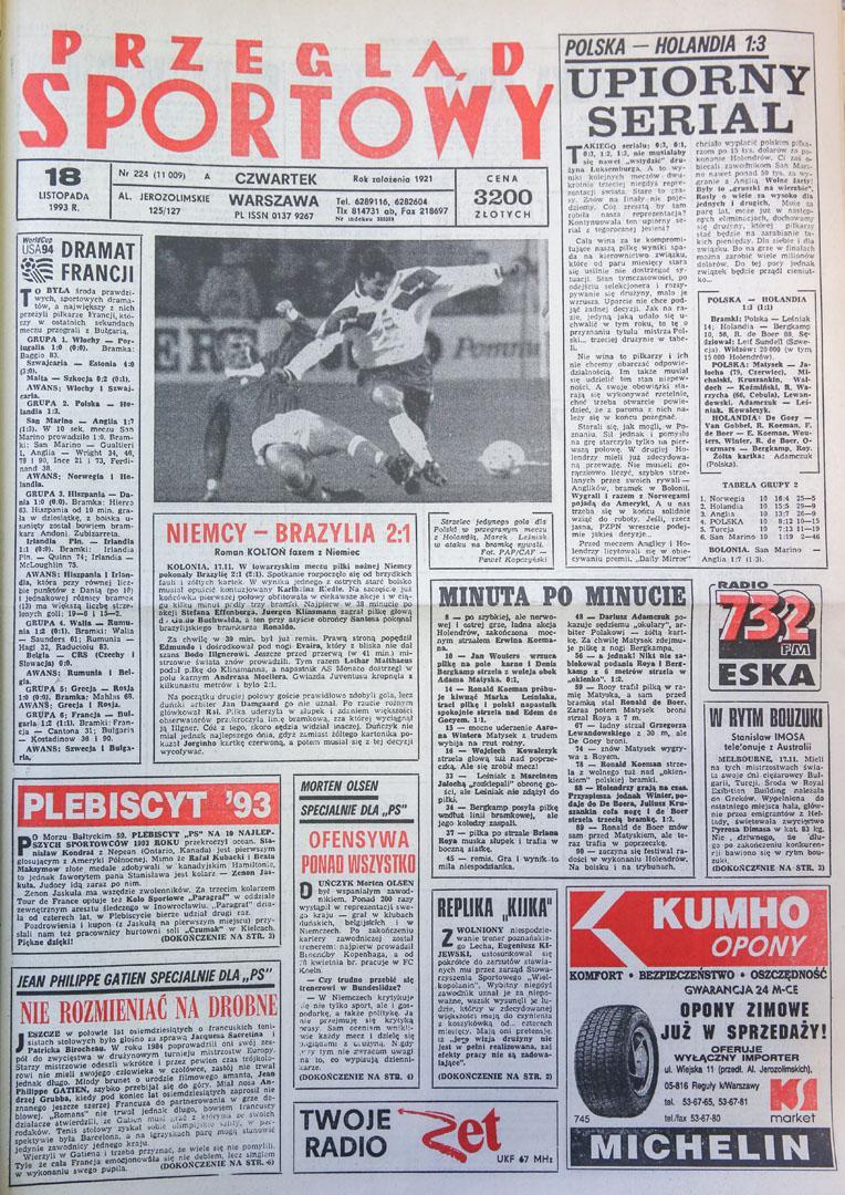 Okładka przeglądu sportowego po meczu Polska - Holandia (17.11.1993)