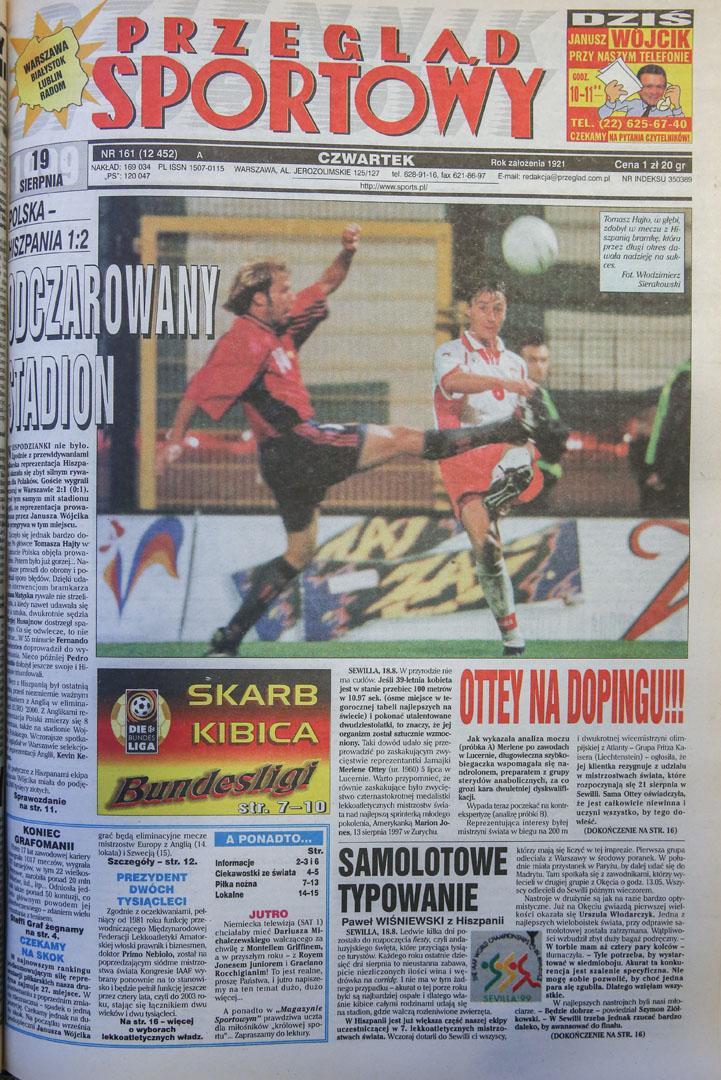 Okładka przegladu sportowego po meczu Polska - Hiszpania (18.08.1999)