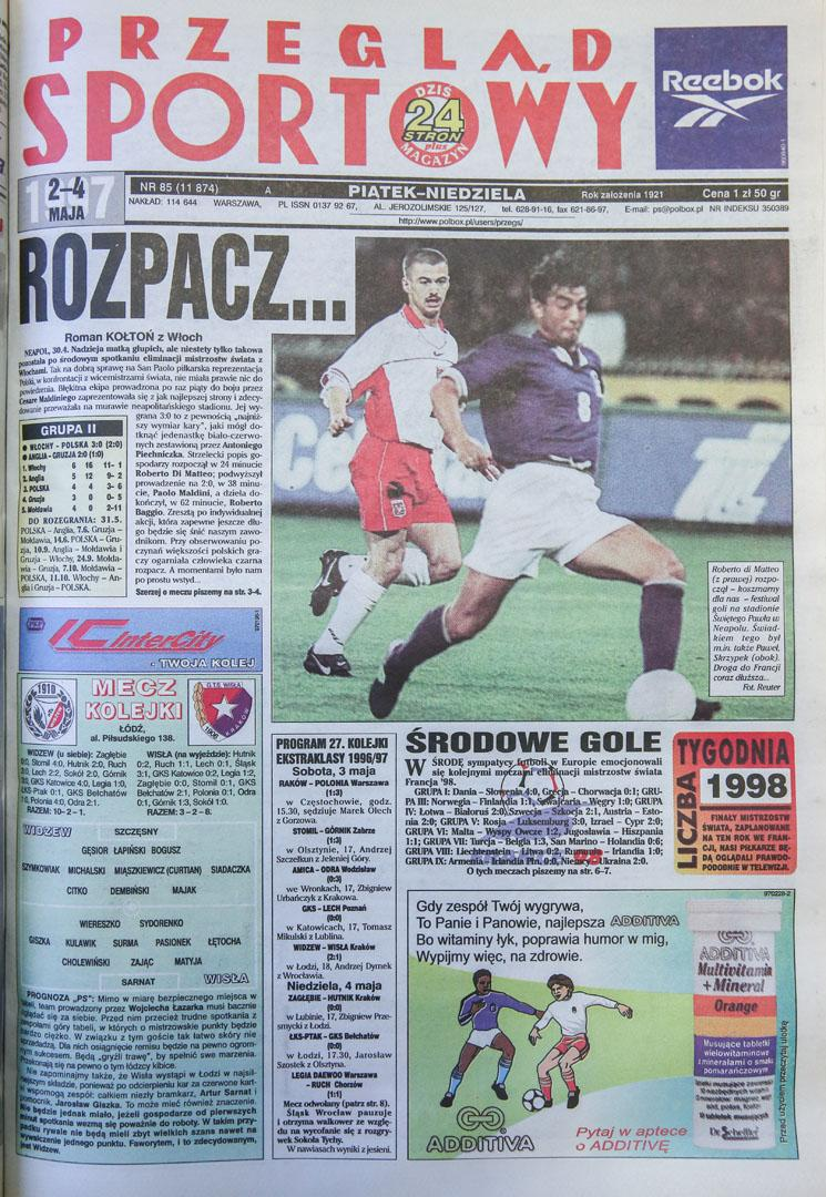Okładka przegladu sportowego po meczu włochy - polska (30.04.1997)