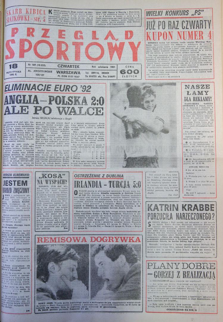 Okładka przegladu sportowego po meczu anglia - polska (17.10.1990)