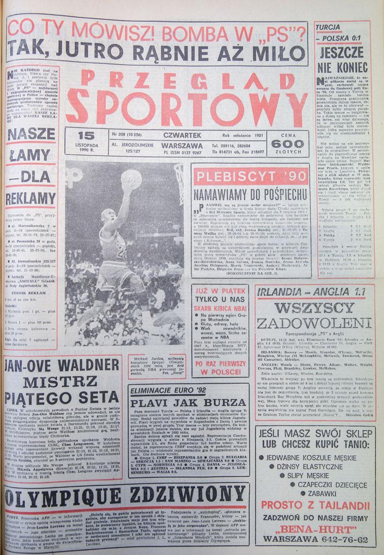 Okładka przegladu sportowego po meczu Turcja - Polska (14.11.1990)