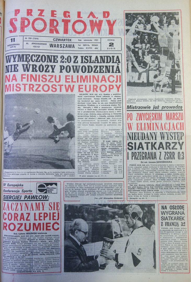 Okładka przegladu sportowego po meczu Polska - Islandia (10.10.1979)
