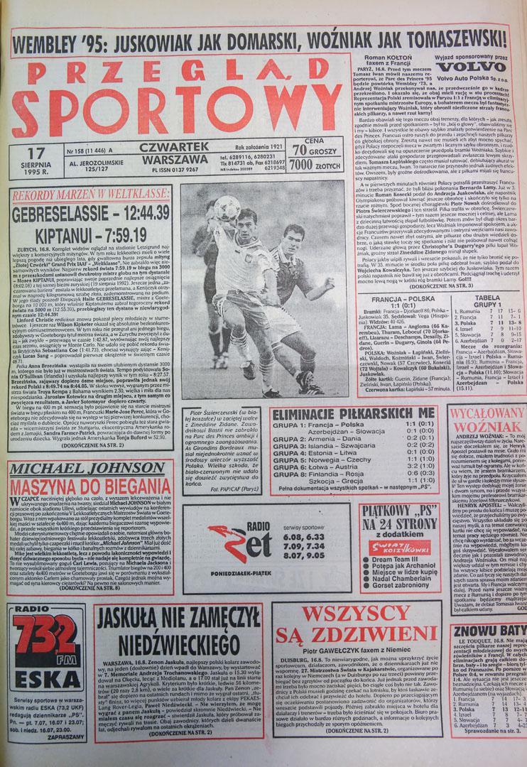 Okładka przegladu sportowego po meczu francja - polska (16.08.1995)