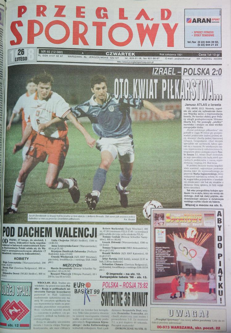 Okładka przegladu sportowego po meczu Izrael - Polska (25.02.1998)