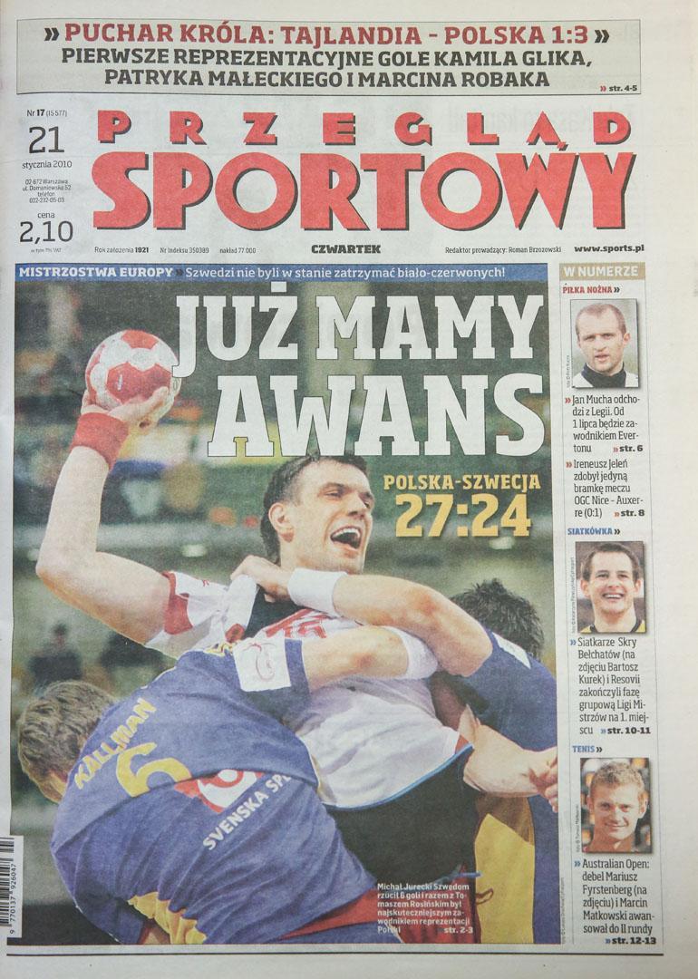 Okładka po meczu Tajlandia - Polska (20.01.2010)