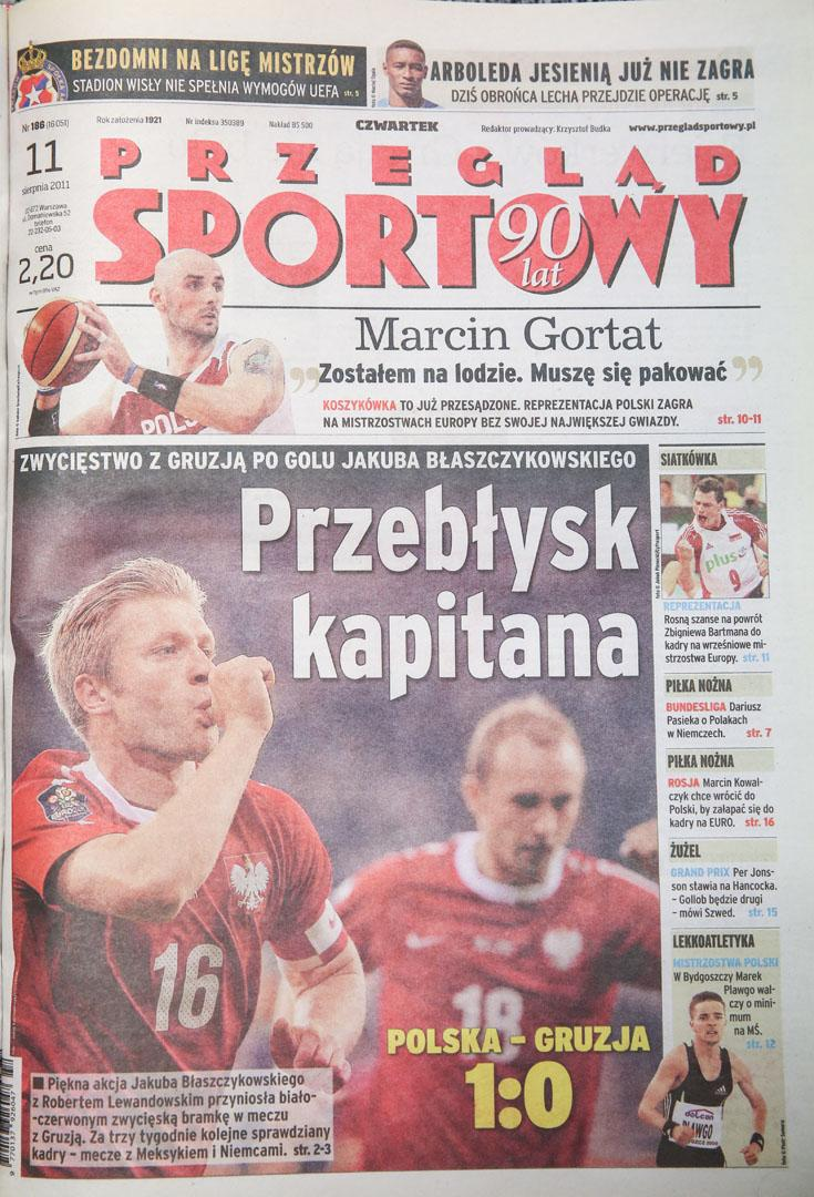 Okładka przeglądu sportowego po meczu polska - gruzja (10.08.2011)