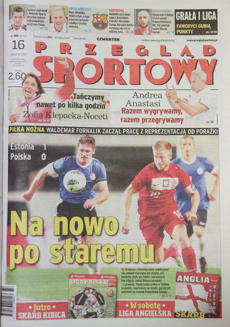 Okładka przeglądu sportowego po meczu Estonia - Polska (15.08.2012)