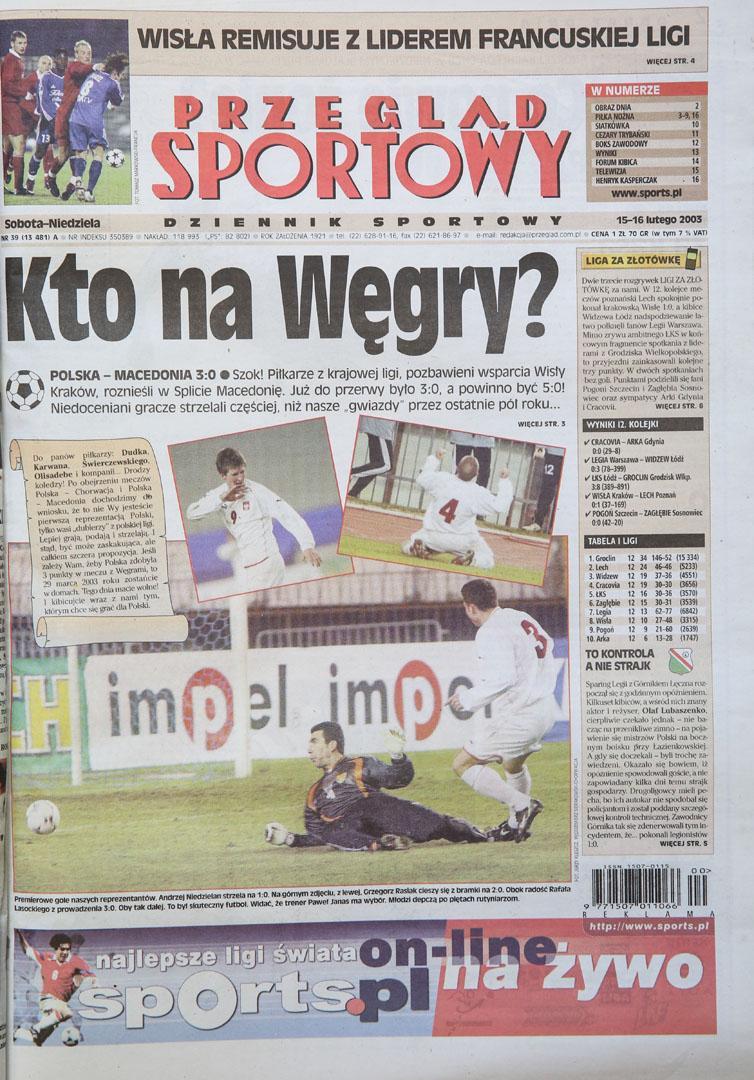 Okładka przegladu sportowego po meczu Polska - Macedonia (14.02.2003)
