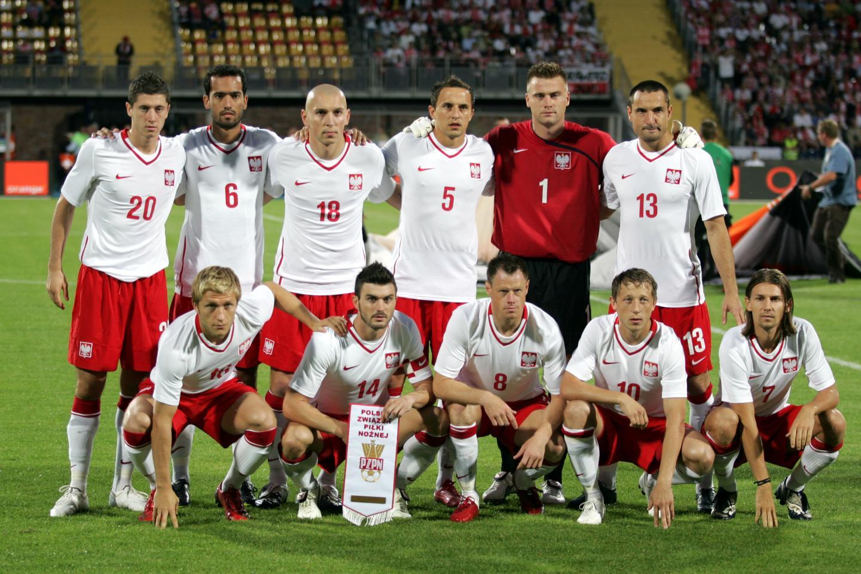 Reprezentacja Polski przed meczem z Grecją w 2009 w Bydgoszczy.