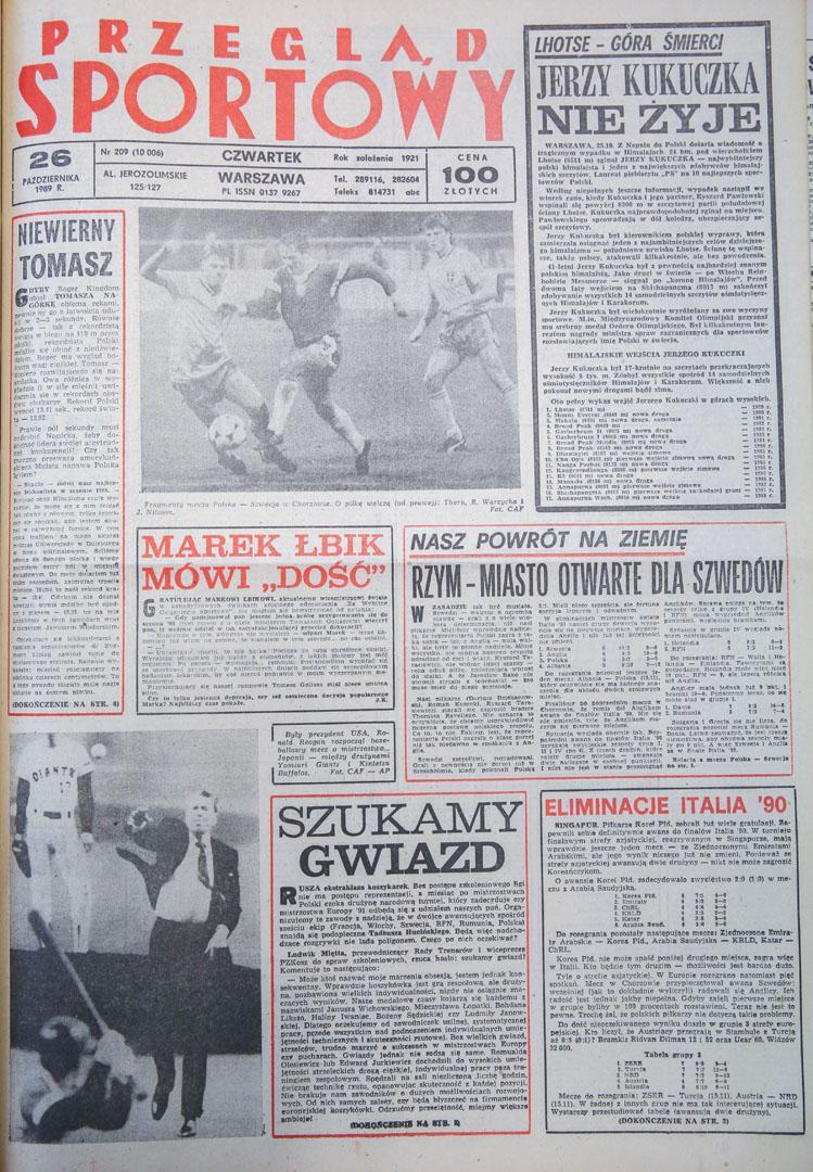 Przegląd Sportowy po meczu Polska - Szwecja (25.10.1989)