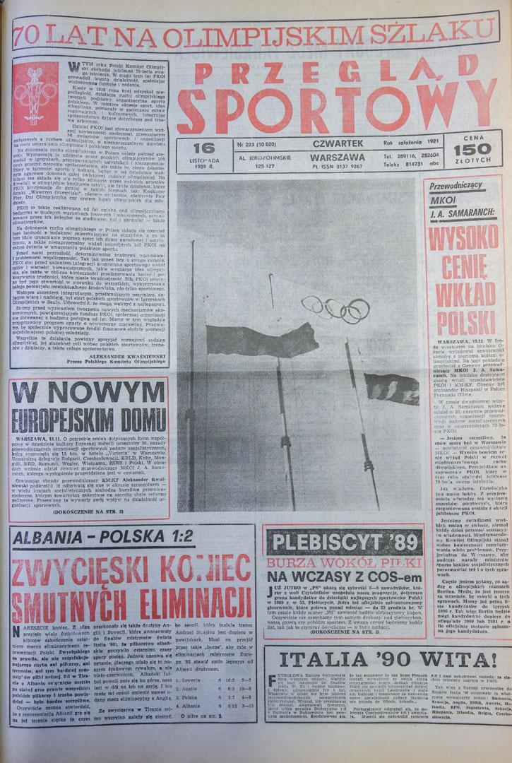 Okładka przegladu sportowego po meczu albania - polska (15.11.1989)