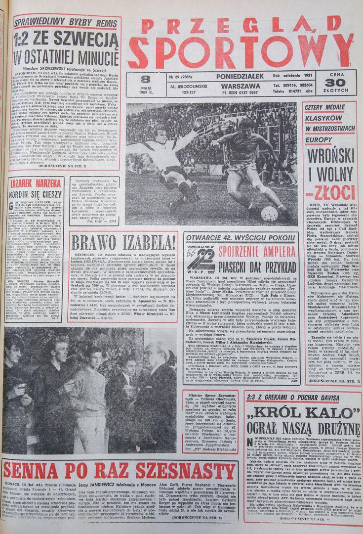 Okładka przegladu sportowego po meczu Szwecja - Polska (07.05.1989)