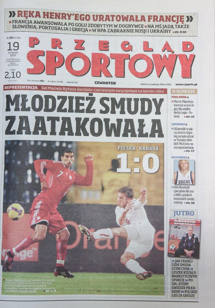 Okładka przeglądu sportowego po meczu Polska - Kanada (18.11.2009)