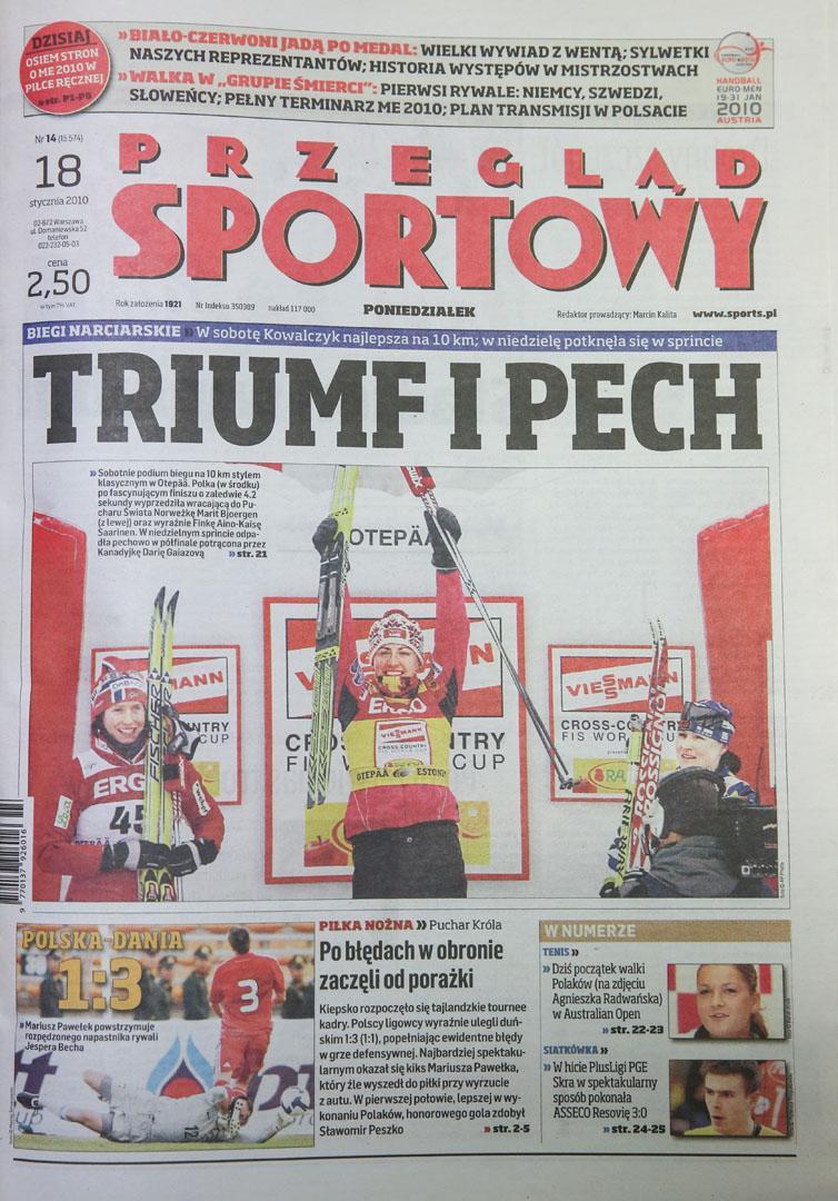 Okładka przegladu sportowego po meczu polska - dania (17.01.2010)