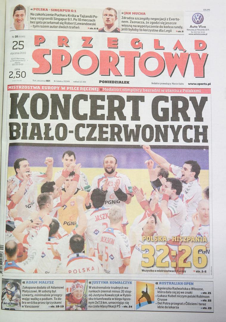 Okładka przegladu sportowego po meczu Polska - Singapur (23.01.2010)