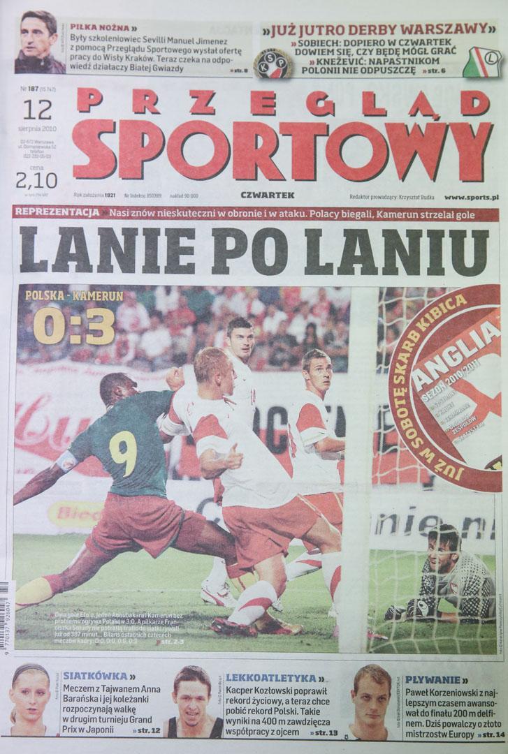 Okładka przegladu sportowego meczu polska - kamerun (11.08.2010)