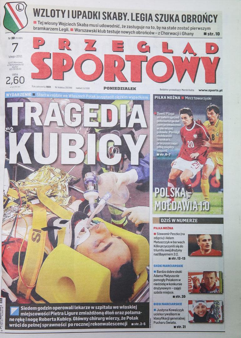 Okładka przeglądu sportowego po meczu Polska - Mołdawia (06.02.2011)