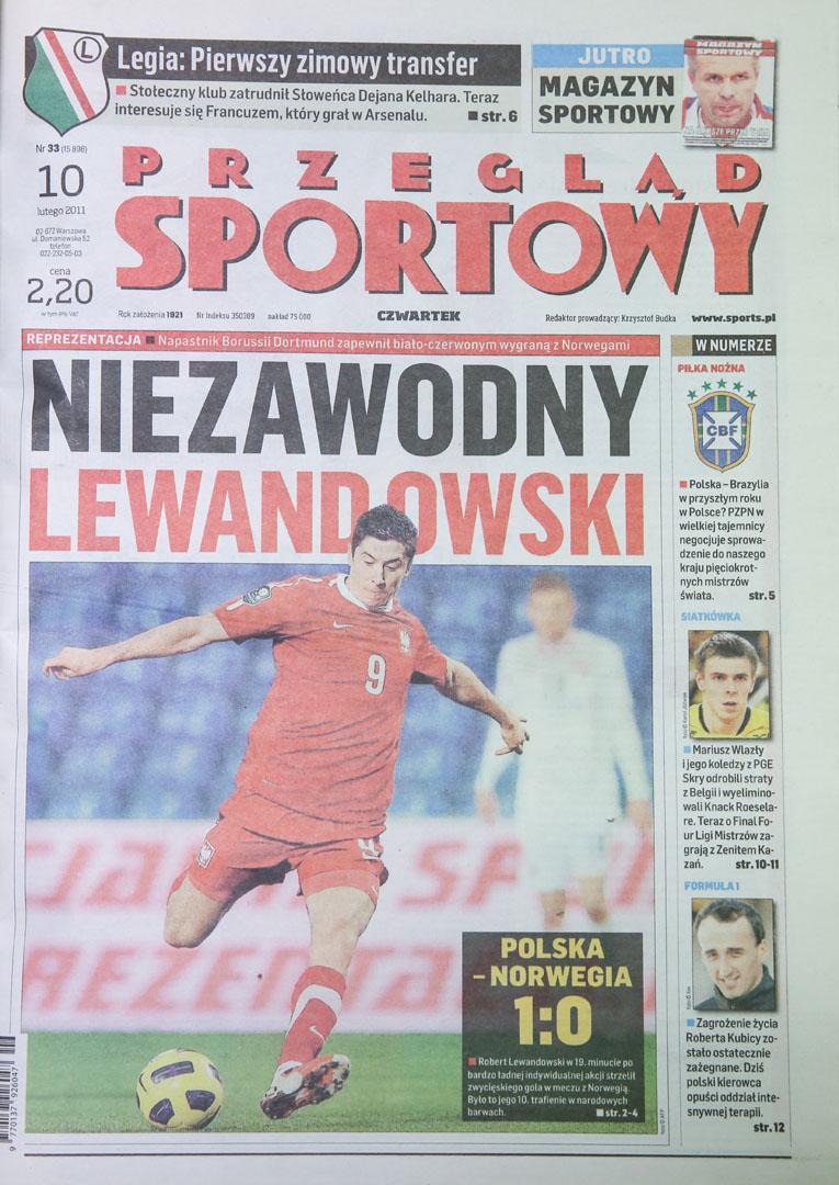 Okładka przegladu sportowego po meczu Polska - Norwegia (09.02.2011)