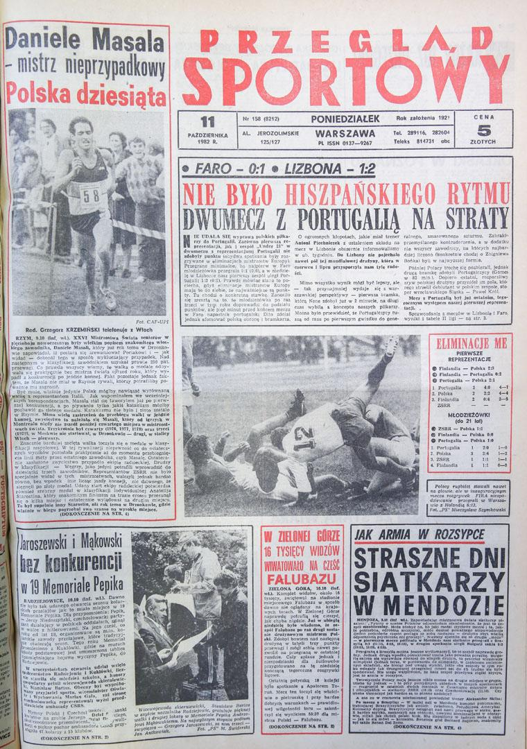 Okładka przeglądu sportowego po meczu Portugalia - Polska (10.10.1982)