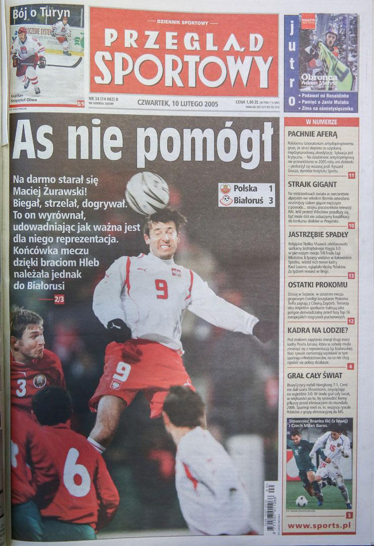 Okładka przeglądu sportowego po meczu Polska - Białoruś (09.02.2005)