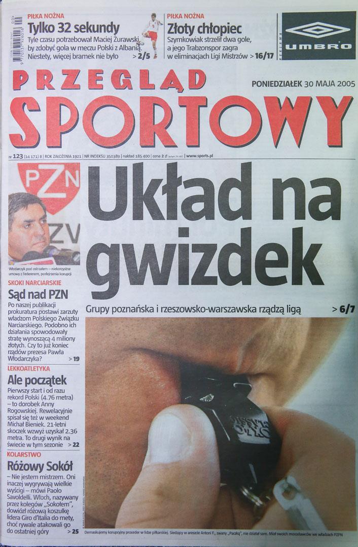 Okładka Przeglądu Sportowego po meczu Polska - Albania (29.05.2005)