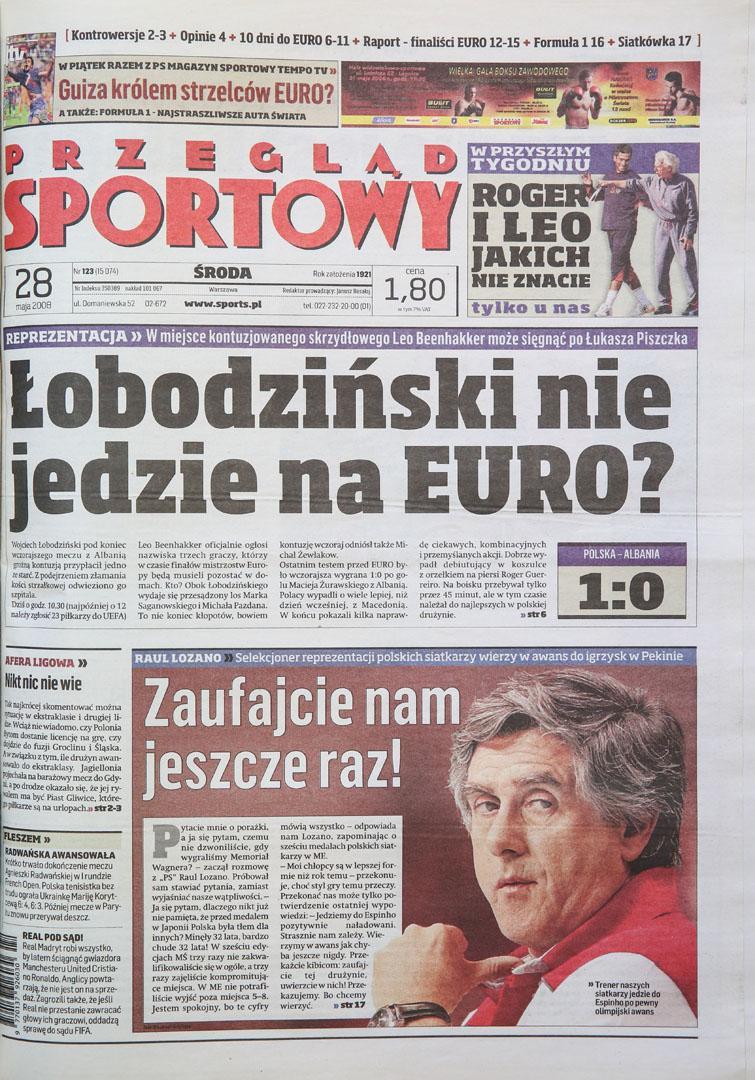 Okładka przeglądu sportowego po meczu Polska - Albania (27.05.2008)