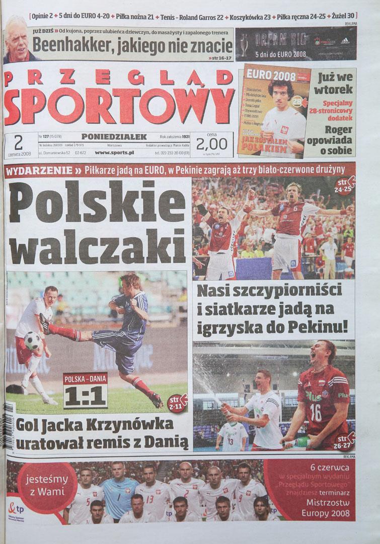Okładka przeglądu sportowego po meczu Polska - Dania (01.06.2008)