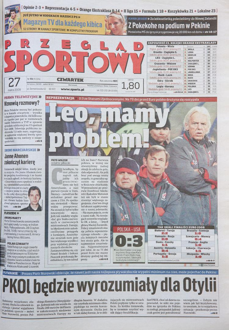 Okładka przegladu sportowego po meczu Polska - USA (26.03.2008)