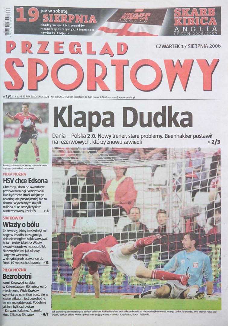 Okładka przeglądu Sportowego po meczu Dania - Polska (16.08.2006)