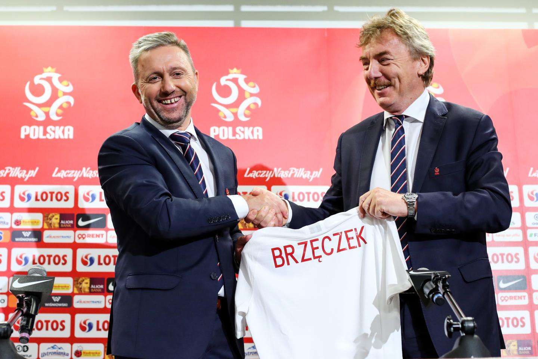 Jerzy Brzęczek i Zbigniew Boniek podczas prezentacji nowego selekcjonera (23.07.2018).