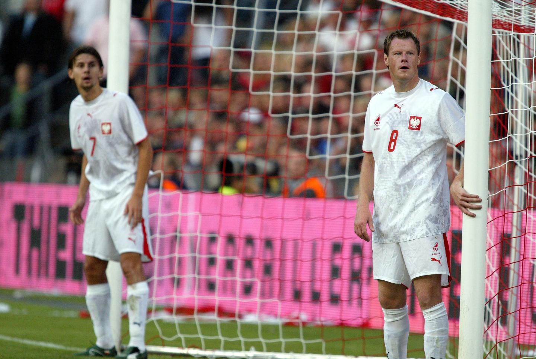 Euzebiusz Smolarek i Jacek Krzynówek podczas meczu Dania - Polska 2:0 (16.08.2006).