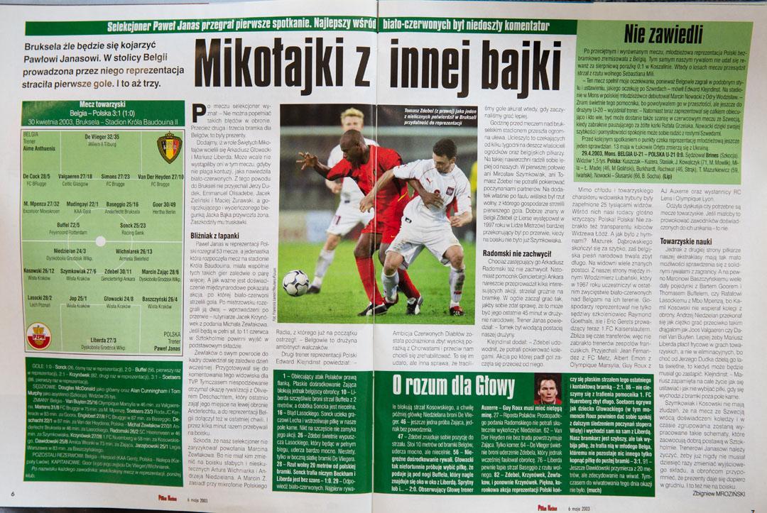 Piłka nożna po meczu Belgia - Polska (30.04.2003)