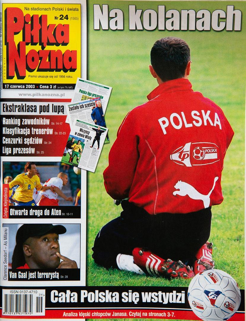 Okładka piłki nożnej po meczu szwecja - polska (11.06.2003)