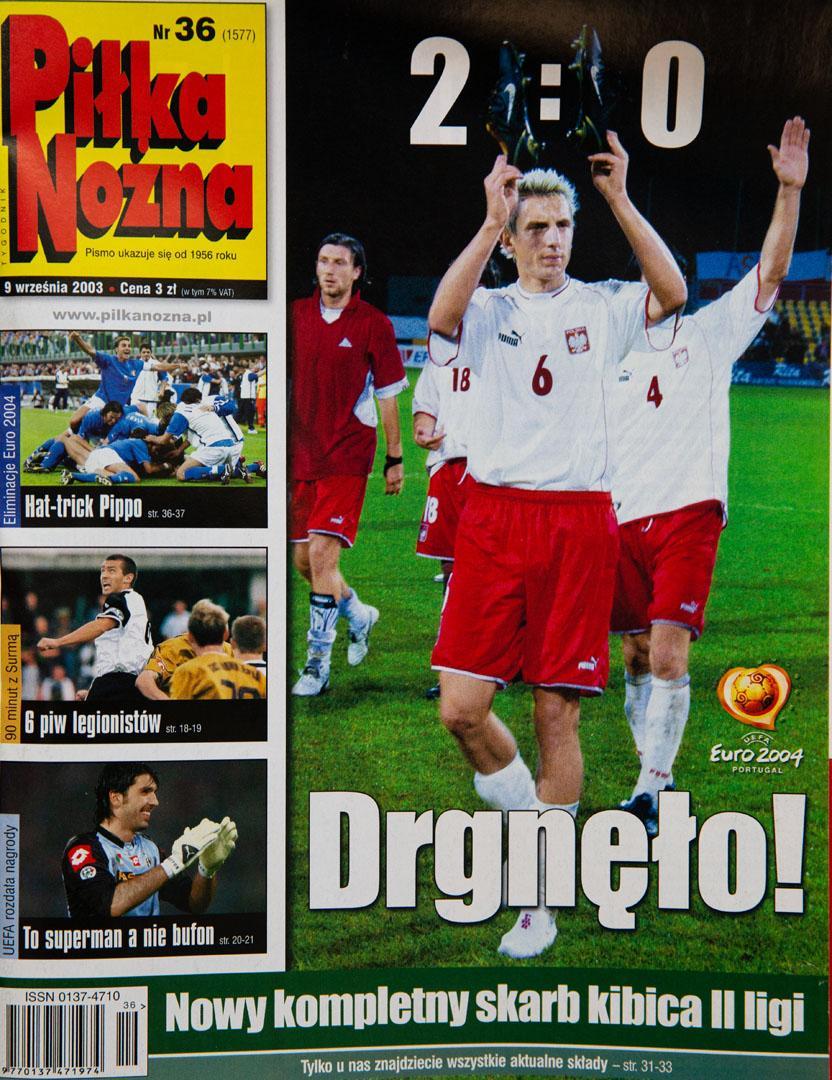 Okładka piłki nożnej po meczu łotwa - polska (06.09.2003)