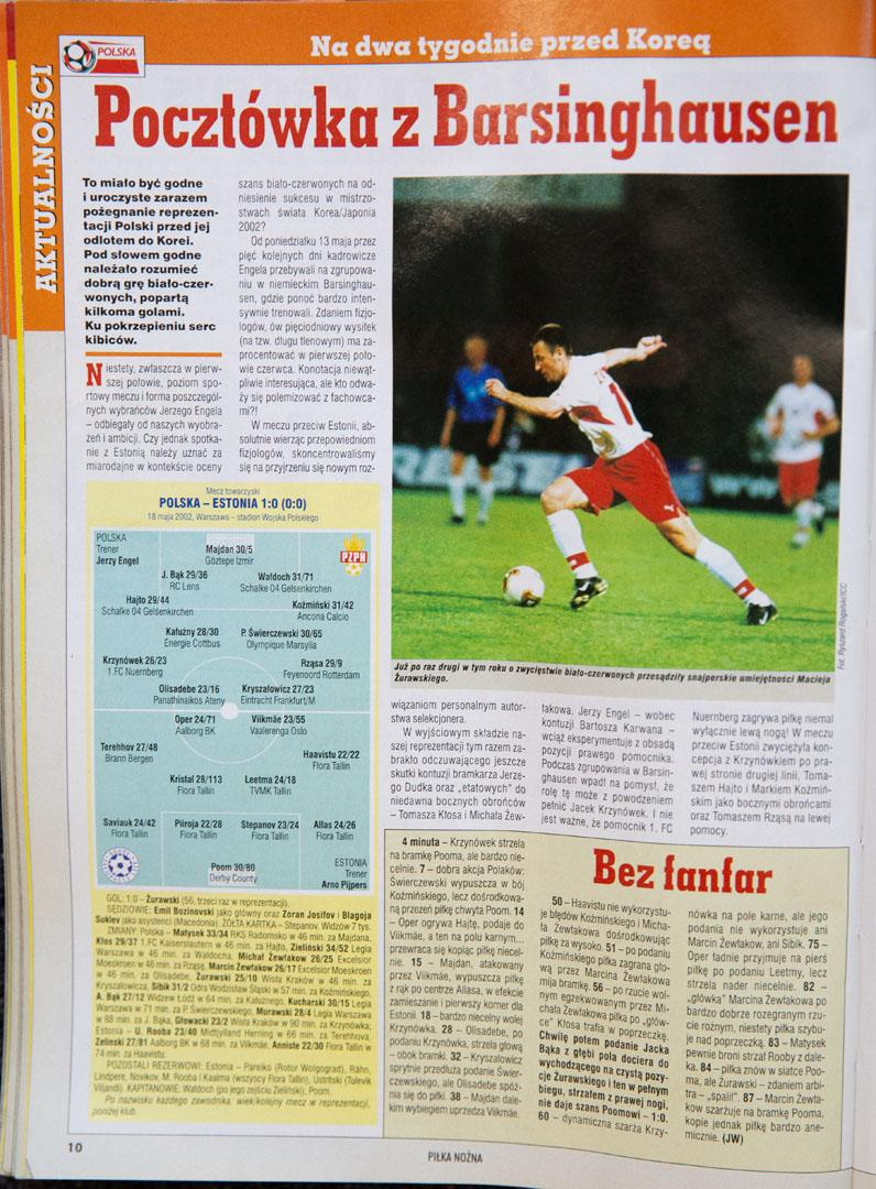 Piłka nożna po meczu Polska - Estonia (18.05.2002)