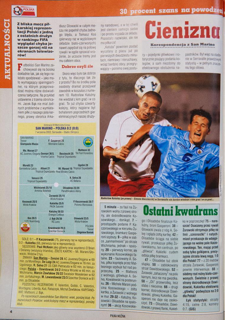 Tygodnik piłka nożna po meczu san marino - polska (07.09.2002)