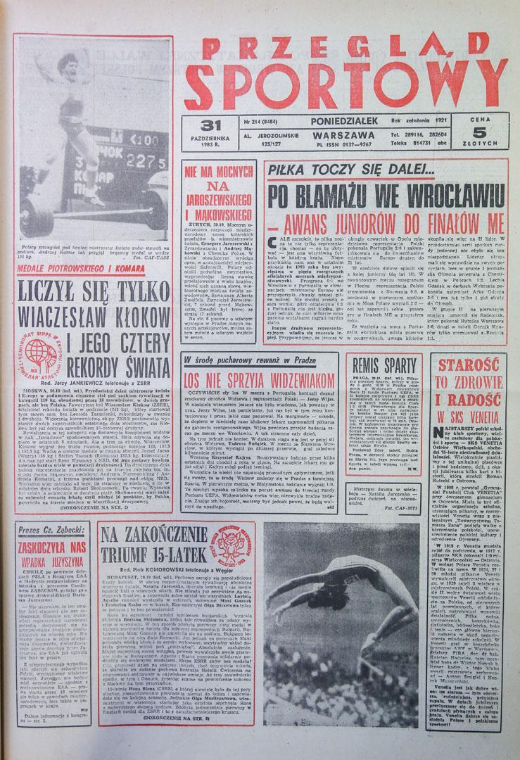 Przegląd sportowy po meczu Polska - Portugalia (28.10.1983)