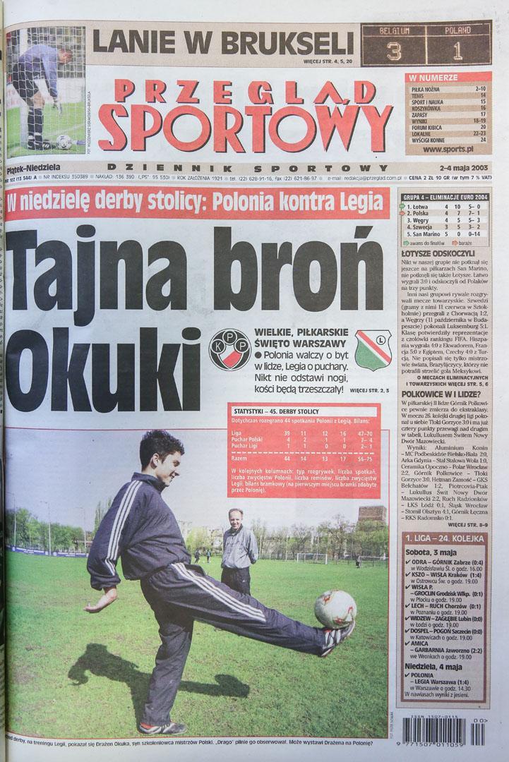Okładka przeglądu sportowego po meczu Belgia - Polska 3:1 (30.04.2003)