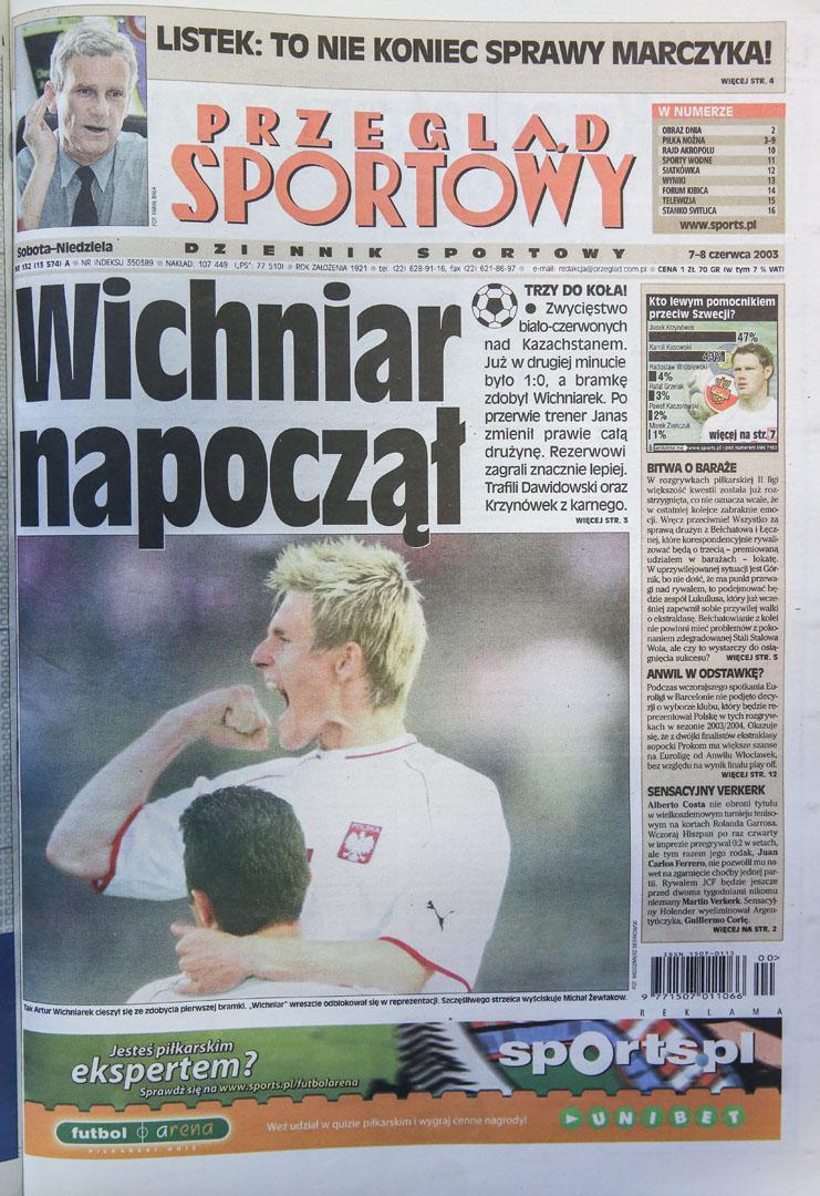 Okładka przeglądu sportowego po meczu polska - kazachstan (6.06.2003)