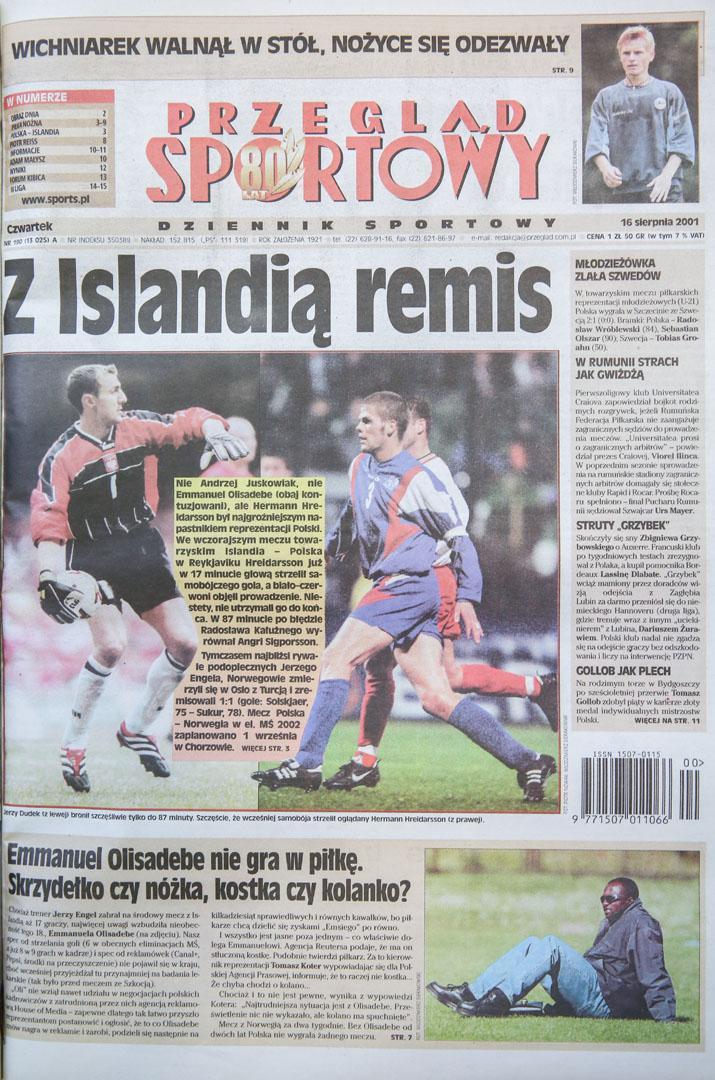 Okładka po meczu Islandia - Polska (15.08.2001)