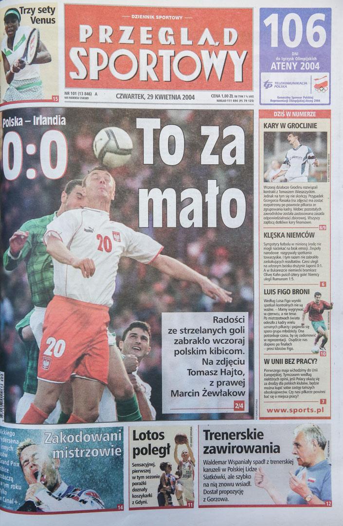 Okładka przeglądu sportowego po meczu polska - irlandia (28.04.2004)