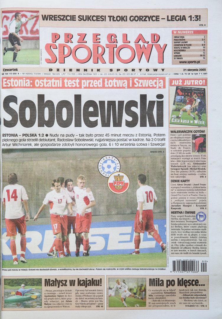 Okładka przeglądu sportowego po meczu estonia - polska (20.08.2003)
