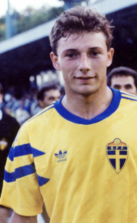Wojciech Kowalczyk w koszulce reprezentacji Szwecji w 1991 roku.