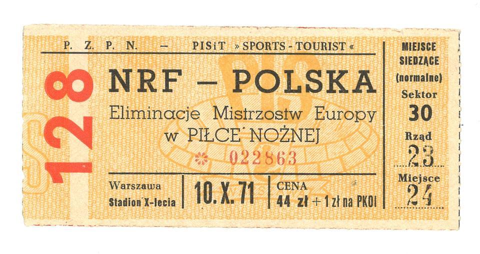 Oryginalny bilet z meczu Polska - RFN (10.10.1971)