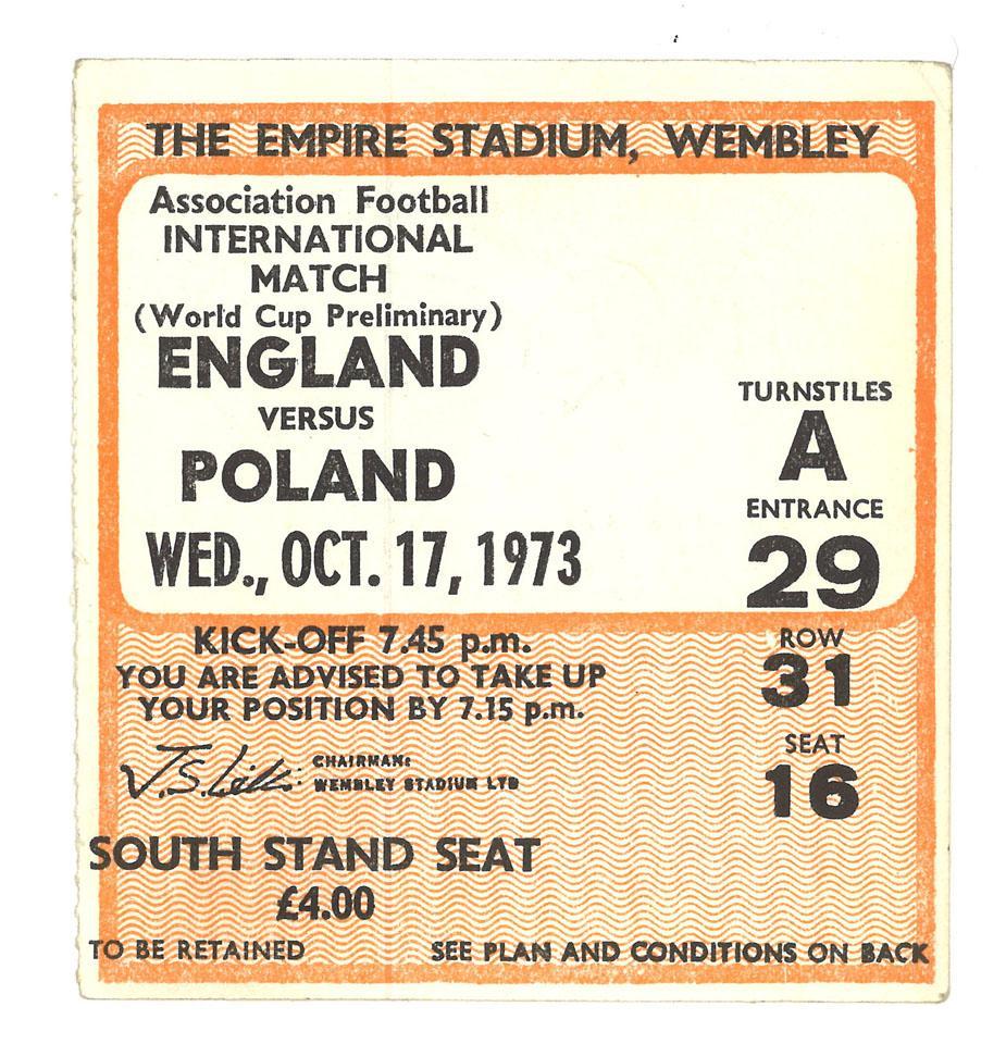 Oryginalny bilet z meczu Anglia - Polska (17.10.1973)