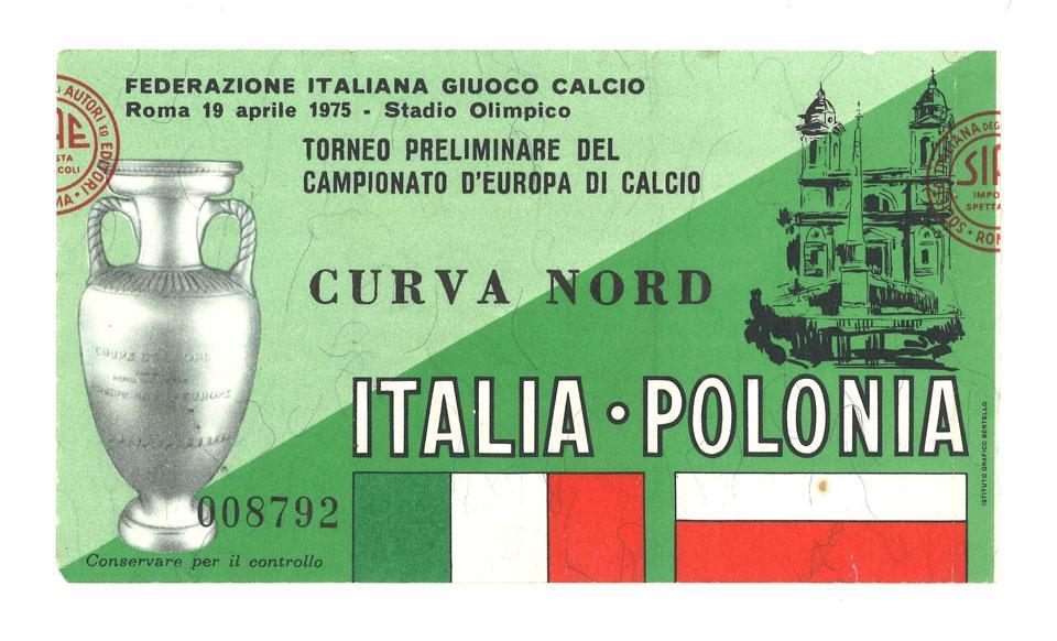 Oryginalny bilet z meczu Włochy - Polska (19.04.1975)