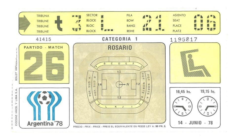 Oryginalny bilet z meczu Argentyna - Polska (14.06.1978)